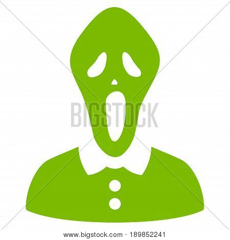 Eco Green Horror toolbar pictogram. Vector pictograph style is a flat symbol on diagonal hatch transparent background.