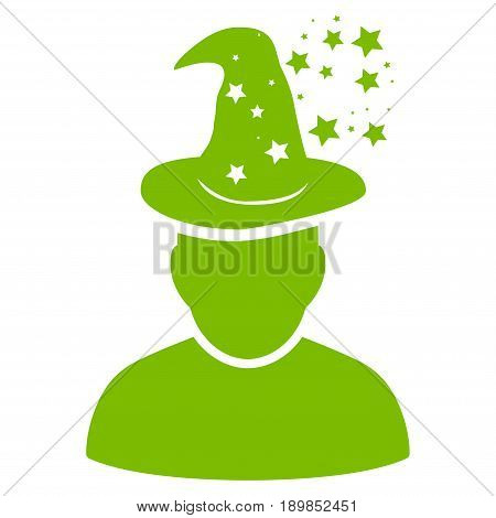 Eco Green Magic Person toolbar pictogram. Vector pictogram style is a flat symbol on diagonal hatch transparent background.