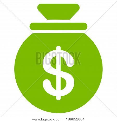 Eco Green Money Bag toolbar icon. Vector pictograph style is a flat symbol on diagonal hatch transparent background.