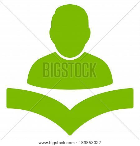 Eco Green Reader Boy interface pictogram. Vector pictograph style is a flat symbol on diagonal hatch transparent background.