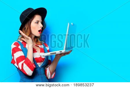 Woman With White Laptop