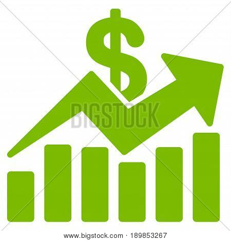 Eco Green Sales Bar Chart Trend toolbar icon. Vector pictograph style is a flat symbol on diagonal hatch transparent background.