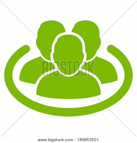 Eco Green Social Ring interface toolbar pictogram. Vector pictogram style is a flat symbol on diagonal hatch transparent background.