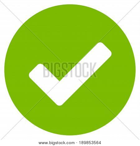 Eco Green Yes interface icon. Vector pictogram style is a flat symbol on diagonal hatch transparent background.
