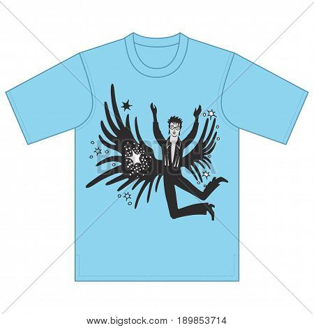 Full length front view of artist performances tshirt design. Vector illustration isolated on white background