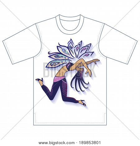 Full length front view of dancer girl tshirt design. Vector illustration isolated on white background