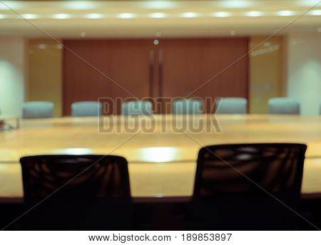 Blur image of empty boardroom background. Business concept