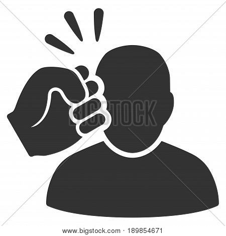 Gray Crime Violation Fist Strike toolbar pictogram. Vector pictogram style is a flat symbol on diagonal hatch transparent background.