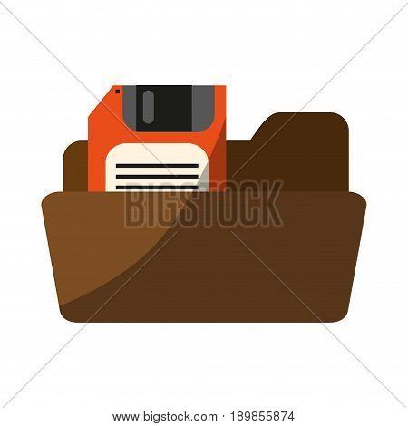 file folder with diskette or floppy disk  icon image vector illustration design