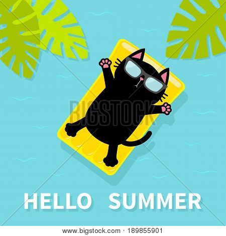 Black cat floating on yellow air pool water mattress. Hello Summer. Palm tree leaf. Cute cartoon relaxing character. Sunglasses. Sea Ocean water with zigzag waves. Blue background. Flat design. Vector