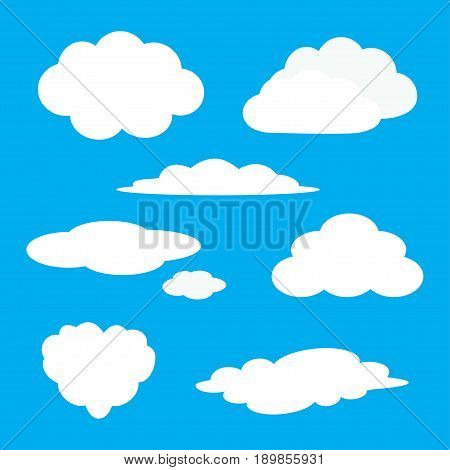 White cloud icon set. Fluffy clouds. Cute cartoon cloudscape. Cloudy weather sign symbols. Flat design Web app decoration element. Blues sky background. Isolated. Vector illustration