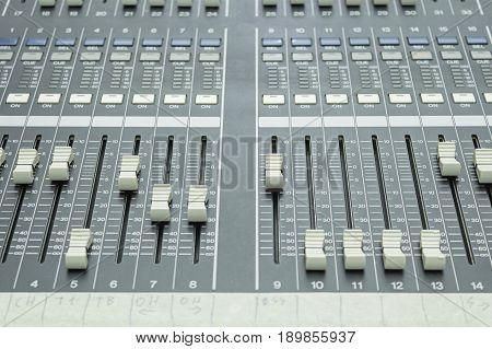 Mixer dj equipment in concert music, electronic instrument