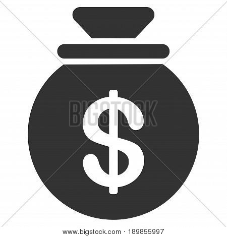 Gray Money Bag interface toolbar icon. Vector pictogram style is a flat symbol on diagonal hatch transparent background.