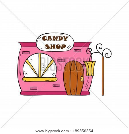 Vector illustration with cartoon isolated hand drawn candy shop building. Sweet store background. Tasty dessert market icon. Cartoon candy shop front with door window streetlight. Food market icon