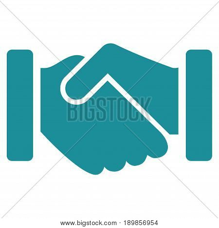 Soft Blue Agreement Handshake toolbar pictogram. Vector pictogram style is a flat symbol on diagonal hatch transparent background.