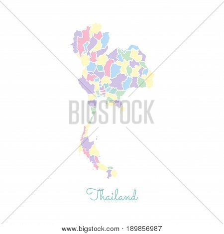 Thailand Region Map: Colorful With White Outline. Detailed Map Of Thailand Regions. Vector Illustrat