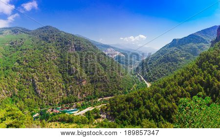 Mountain panoramic landscape of valley Dimcay near of Alanya Antalya district Turkey Asia. View near famous cave Dim Magarasi Summer bright day
