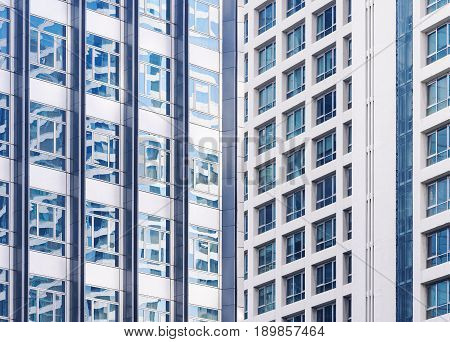 Architecture exterior Modern building facade window reflection Abstract background