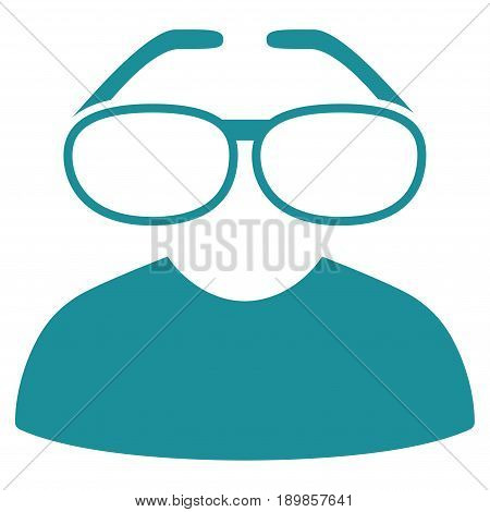 Soft Blue Clever Spectacles interface toolbar icon. Vector pictogram style is a flat symbol on diagonal hatch transparent background.