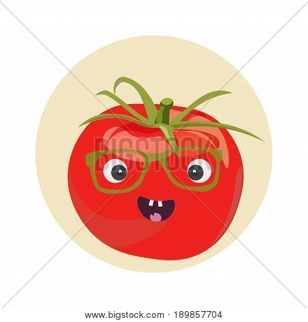 Smiling cute Tomato character vector illustration. Smiling Tomato Face. Great as tomato festival promotion.