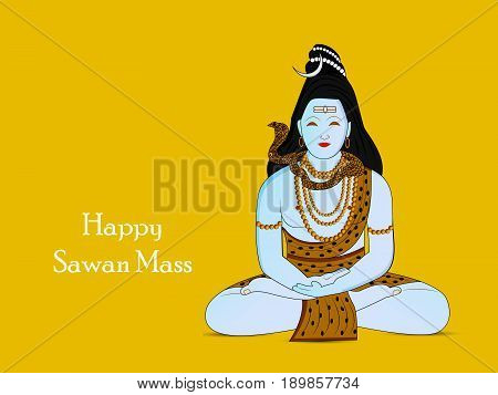 illustration of hindu god shiv with happy sawan mass text on sawan festival