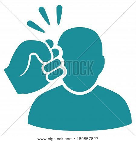 Soft Blue Crime Violation Fist Strike interface toolbar icon. Vector pictograph style is a flat symbol on diagonal hatch transparent background.