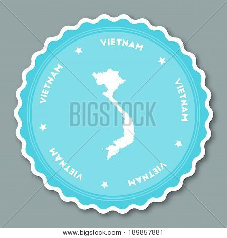 Vietnam Sticker Flat Design. Round Flat Style Badges Of Trendy Colors With Country Map And Name. Cou