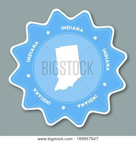 Indiana Map Sticker In Trendy Colors. Travel Sticker With Us State Name And Map. Can Be Used As Logo