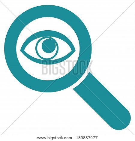 Soft Blue Eye Explore toolbar pictogram. Vector pictogram style is a flat symbol on diagonal hatch transparent background.