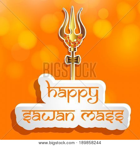 illustration of trishul weapon of hindu god shiv with happy sawan mass text on sawan festival
