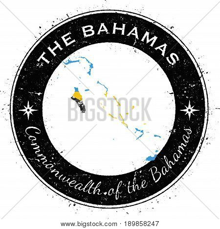 Bahamas Circular Patriotic Badge. Grunge Rubber Stamp With National Flag, Map And The Bahamas Writte