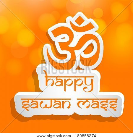 illustration of om in Hindi language with happy sawan mass text