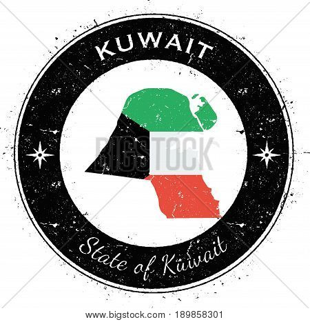 Kuwait Circular Patriotic Badge. Grunge Rubber Stamp With National Flag, Map And The Kuwait Written