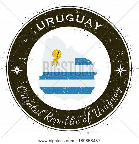 Uruguay Circular Patriotic Badge. Grunge Rubber Stamp With National Flag, Map And The Uruguay Writte