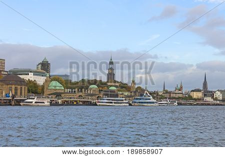 View Of The St. Pauli Piers, One Of Hamburg's Major Tourist Attractions. Hamburg, Germany.