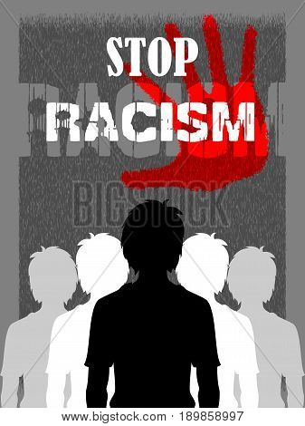 Social Awareness concept poster for Stop Racism. Vector illustration