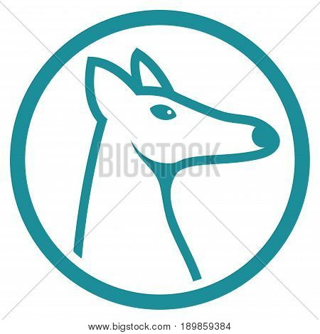 Soft Blue Rounded Fox Head interface toolbar pictogram. Vector pictogram style is a flat symbol on diagonal hatch transparent background.