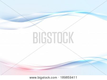 Modern abstract swoosh wave border red and blue layout. Bright vivid smooth glowing glittering fantasy template. Gradient overlay transparent border flyer. Vector illustration