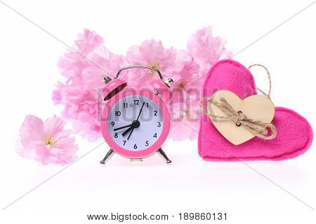 Bunch Of Sakura Flowers, Pink Alarm Clock And Handmade Heart