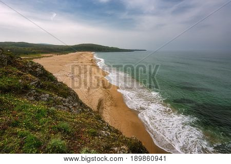 Seascape with beach at the mouth of the Veleka River, Sinemorets village, Burgas Region, Bulgaria