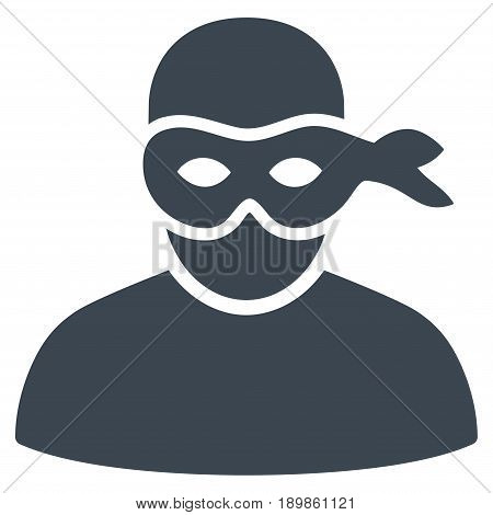 Smooth Blue Anonimious Thief toolbar icon. Vector pictogram style is a flat symbol on diagonal hatch transparent background.
