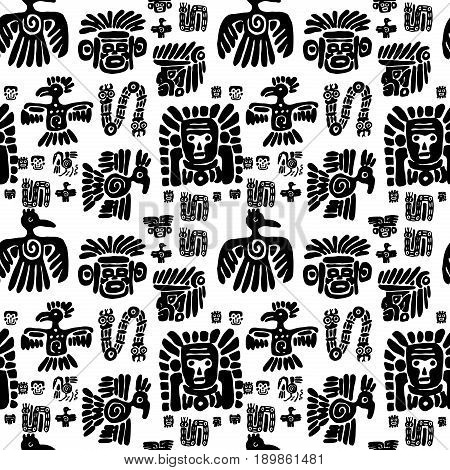 Seamless vector maya pattern. Black and white ethnic elements. Tribal doodles ornament. Abstract ancient symbols birds, animals and faces