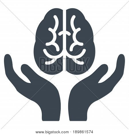 Smooth Blue Brain Care Hands toolbar icon. Vector pictograph style is a flat symbol on diagonal hatch transparent background.