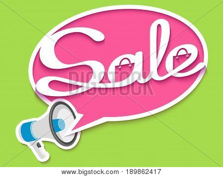 Sale banner with loudspeaker and calligraphic inscription in comic speech bubble. Vector illustration made in paper cut out style.