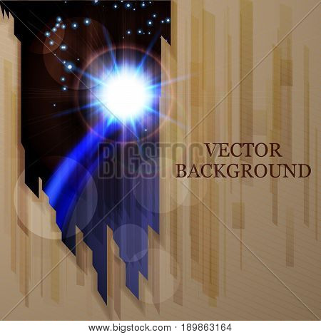 Abstract vector background with blue planet and stars.