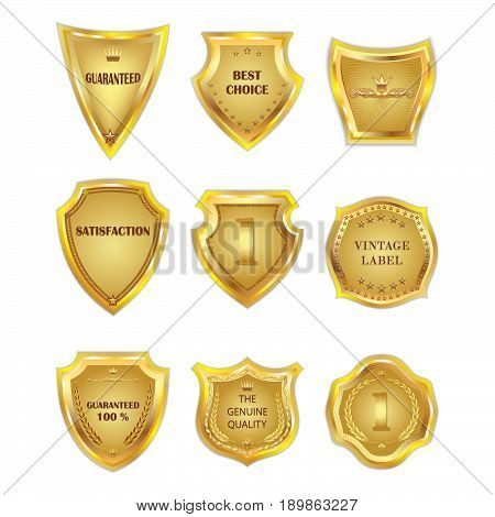 Set of vector golden vintagel design elements on white background.