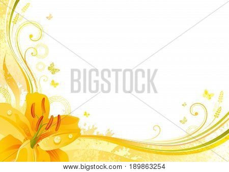 Autumn background with yellow lily flower, falling leaves, butterflies, abstract wave lines, swirls, grunge pattern, copy space for text. Elegant modern seasonal vector illustration.