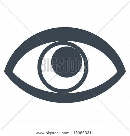 Smooth Blue Eye toolbar icon. Vector pictograph style is a flat symbol on diagonal hatch transparent background.