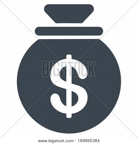Smooth Blue Money Bag toolbar pictogram. Vector pictograph style is a flat symbol on diagonal hatch transparent background.