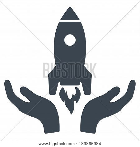 Smooth Blue Rocket Startup toolbar pictogram. Vector pictograph style is a flat symbol on diagonal hatch transparent background.